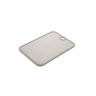 Tabua de Corte Carne Frios Antiderrapante Plástico Cinza - Plasutil