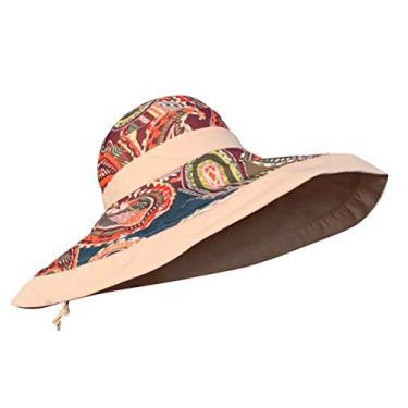 PRETYZOOM Chapéu de sol de aba larga com estampa de dupla face, chapéu de pescador feminino, chapéu de sol para atividades ao ar livre, praia, viagem, chapéu de verão (Cáqui)