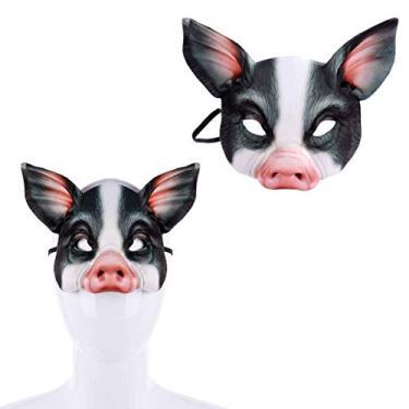 Imagem de ifundom Máscara de porco meio rosto para fantasia de Halloween, festival, máscaras, acessórios de cosplay