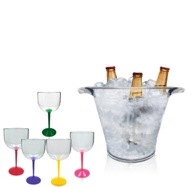 Imagem de Kit Balde de Gelo e 5 Taças Gin Colorida Acrílico