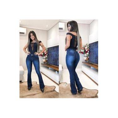 Calça Jeans Boca De Sino Feminina Boca Larga Flare Cós Alto