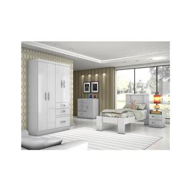 Dormitório Solteiro com Guarda Roupa, Cômoda, Cama e  Mesa de Cabeceira - Moval C33 Branco/Branco