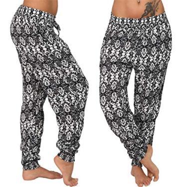 SAFTYBAY Calça feminina boho, calça harém de ioga com cintura franzida plus size calça harém verão praia calça rodada boêmio (branco floral, M)