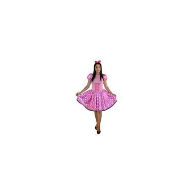 Imagem de Vestido fantasia rosa com branco adulto com tiara E laço