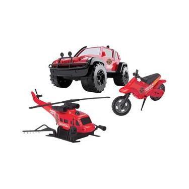 Imagem de Kit Rescue Force Jipe Helicóptero e Moto - Brinquedos Cardoso