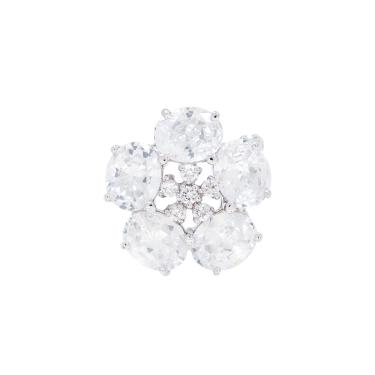Broche cristais flor prata  Cristal