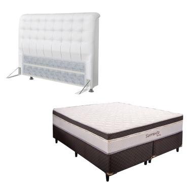 Imagem de Conjunto Box Queen Size Sorrento e Cabeceira Dama Corino Simbal - PVC Branco