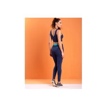 Imagem de Calça Legging com Recorte no Cós Traseiro e Bolso em Suplex Azul Marinho
