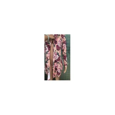 Salão Manga comprida malha Cardigan mangas compridas mulheres Moda Casual malha Cardigan shirt com florais padrões de impressão