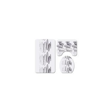 Imagem de Conjunto de cortina de chuveiro de reflexo de pedra à prova d'água Flanela colorida banheiro toalete Tapete de quatro peças Tapete de porta Tapete de banheiro Tapete de banheiro 4/3/1 unidades Conjunto de tapete higiênico 3 unidades