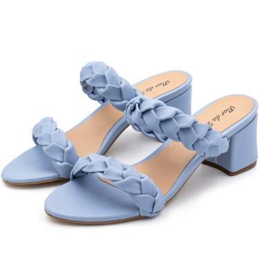 Sandália Salto Grosso Médio Em Napa Azul Bebe  feminino