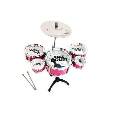 Imagem de Mini Bateria Musical Infantil 5 Tambores - 99 Toys - Rosa