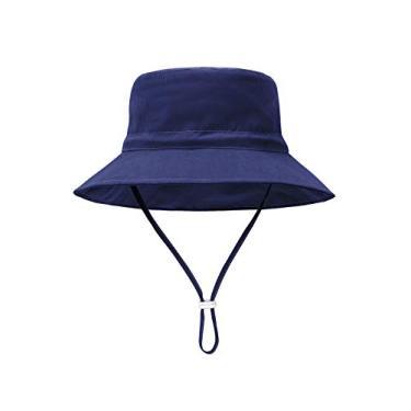 Century Star Chapéu de sol para bebês meninos com proteção solar chapéu de verão chapéu de aba larga chapéu de praia, Azul marinho, 12-24 meses