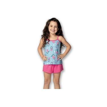 Pijama Curto Infantil Shortdoll Menina Sereias DeMillus 220232 Azul Capri