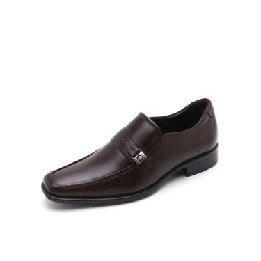 Sapato Social Couro Democrata Liso Marrom Democrata 430026-002 masculino