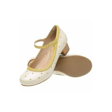 Sandália Retrô Boneca Touro Boots Feminina Off White e Amarelo