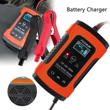 Carregador de bateria de carro 12v 5a lcd inteligente de reparo de pulso de motocicleta de carro r60