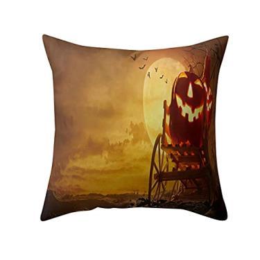 Imagem de SL&LFJ Capa de almofada com tema de Halloween Capa de almofada de algodão para decoração de casa e escritório para sofá, cama, decoração de carro, festa, festival, sala de estar, presente para amigos da família (cor: E)
