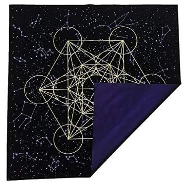 Imagem de Toalha de mesa Zhiang leve e resistente a desbotamento de veludo grosso Filhote metatrona grade de cristal altar adivinhação preto roxo 60 x 60 cm