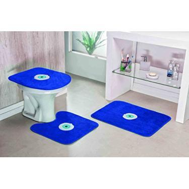 Imagem de Jogo de Banheiro Olho Grego Pontilhado Emborrachado Guga Tapetes Azul Royal Base 100 % Feltro Pelúcia