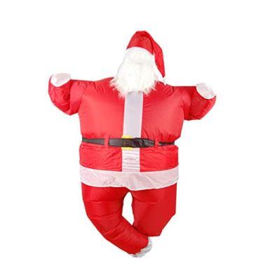 Imagem de Holibanna Fantasia inflável de Papai Noel de Natal fantasia de desenho animado de Natal vestido de festa cosplay vestimenta vermelho