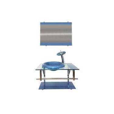 Gabinete de Vidro 60cm para Banheiro Lituânia Azul 0478c5e2601ce
