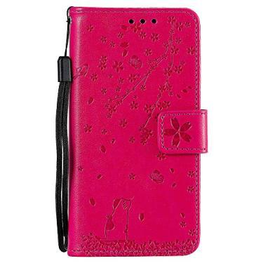 Capa carteira Galaxy J7 Pro em relevo Sakura Cat couro PU flip capa para celular para Samsung Galaxy J7 Pro SM-J730 2017 - rosa vermelho