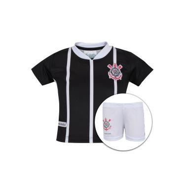Kit de Uniforme de Futebol do Corinthians para Bebê  Camisa + Calção -  Infantil - b478a2a999911