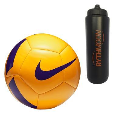 1341bc028a Kit Bola Futebol Campo Nike Pitch Team SC3166 Amarelo Violeta + Squeeze  Automático 1lt