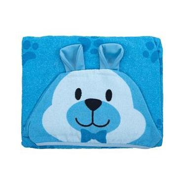 Toalha De Banho Bebe Com Forro Ursinho Azul