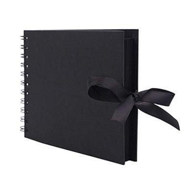 JENPECH Álbum de fotos de scrapbook, 30 páginas, fita de gravata-borboleta, scrapbook, papel artesanal, álbum de fotos, livro de memória, aniversário, amigos, presente de crianças, preto
