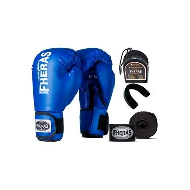 Kit Luva de Boxe Muay Thai MMA Bandagem Bucal 16oz Azul