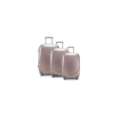 Imagem de Conjunto de Malas de Viagem com 3 Peças Select Rose Gold Alça Cinza Jacki Design
