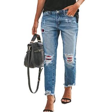 Calça jeans feminina Sidefeel rasgada slim fit lavada bainha crua desgastada, P-blue, Large