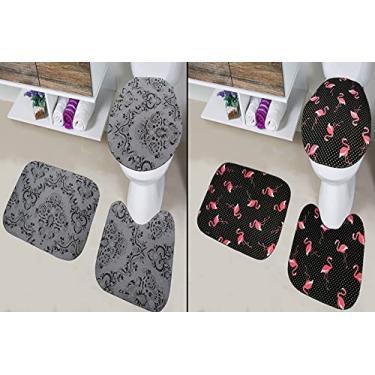 Imagem de Kit 6 Peças Tapete Banheiro 2 Jogos Completos Antiderrapante (Cinza + Flamingo claro)
