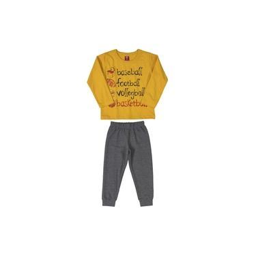 Conjunto Bee Loop Camiseta em Malha Mostarda e Calça Moletom Cinza