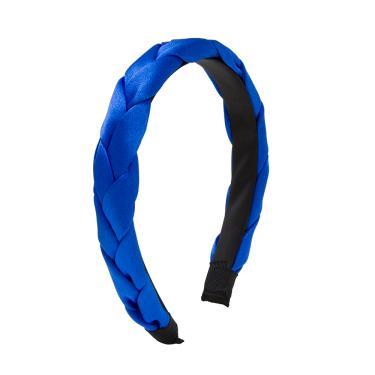 Tiara tecido acetinado trançado único Azul royal