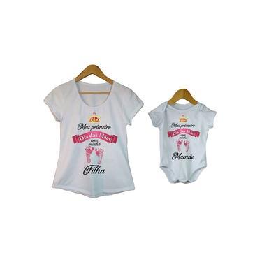 Camiseta feminina meu primeiro dia das mães e body de bebê
