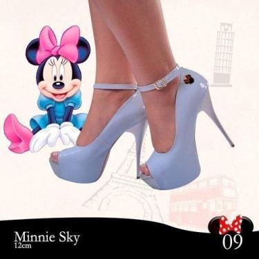 Sandália Meia Pata Azul Bebe Verniz Salto Alto Fino Mickey