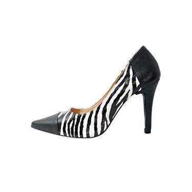 Scarpin Zebra Com Preto Salto Fino Cor:Preto;Tamanho:36;Gênero:Feminino