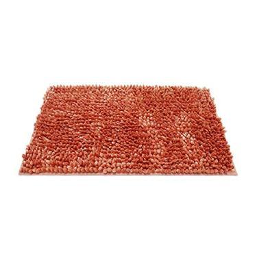 Imagem de HOLPPO Tapetes de banheiro Shaggy Chenille Loop - Tapete de banheiro lavável com tecido sólido macio, pelúcia para chuveiro de banheiro com espuma viscoelástica absorvente de água (multicor opcional) (cor: laranja)