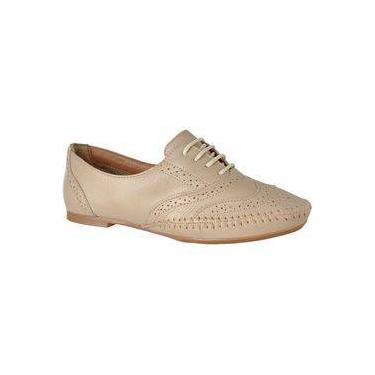 Sapato Feminino Oxford Couro Legítimo Linha Conforto L.A. Areia