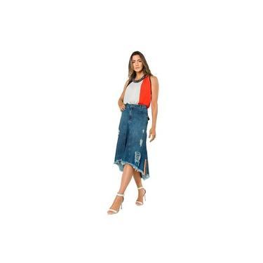 Saia Jeans Feminina Midi Mullet Destroyed Moda Evangélica