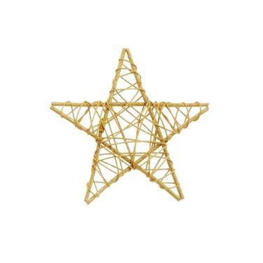 Estrela Rattan Decoração Natal 20Cm Dourado