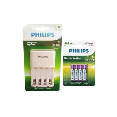 Carregador de Pilhas Philips com 4 Pilhas Aaa Palito 1000mAh Recarregáveis RTU Bivolt Inmetro
