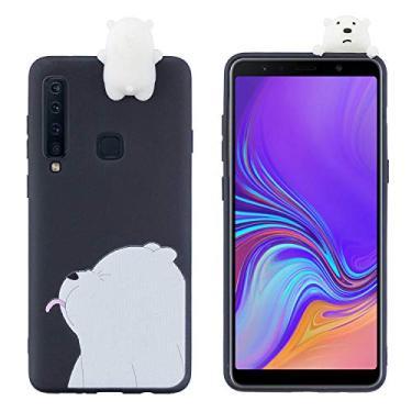 SHUNDA Capa de silicone para Samsung Galaxy A9 (2018) [película de desenho fofo 3D] Capa protetora de poliuretano termoplástico flexível com absorção de choque para Samsung Galaxy A9 (2018) - Naughty Bear