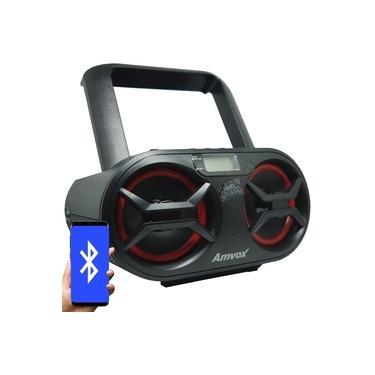 Rádio Portátil Boombox Som Cd Mp3 Player Usb Sd Fm Am Bluetooth Bivolt Amvox AMC 595 New Preto