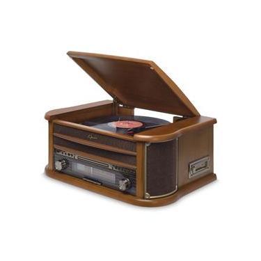 Vitrola Raveo Opera BT com Bluetooth, Toca Discos, CD, FM, Fita K7, AUX, Converte Vinil e K7 em USB