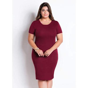 Vestido De Festa Plus Size Tubinho Moda Evangélica Midi (Bordô, GG)