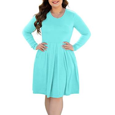 HAOMEILI Vestido feminino plus size de manga curta casual plissado com bolsos, Long Sleeve Nile Blue, Large